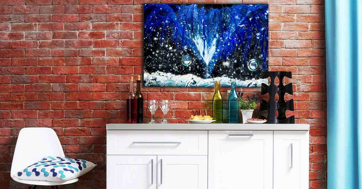 Custom Fine Art Photography for a Bar: Blue Orb Bubbles