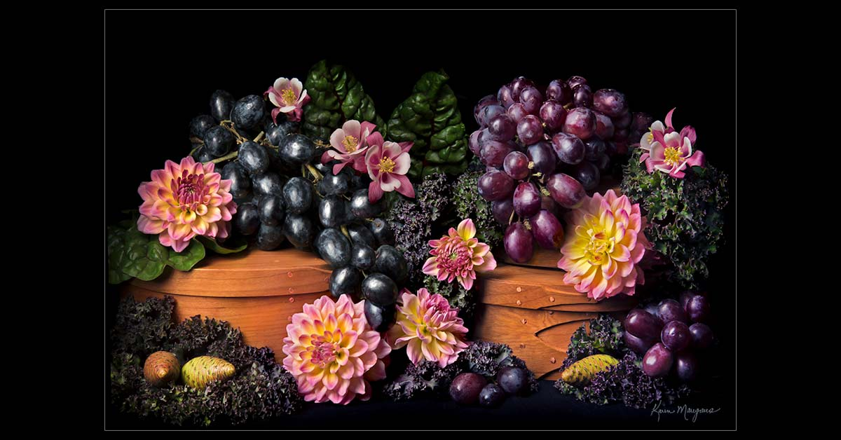 """Grapes with Dahlias"""