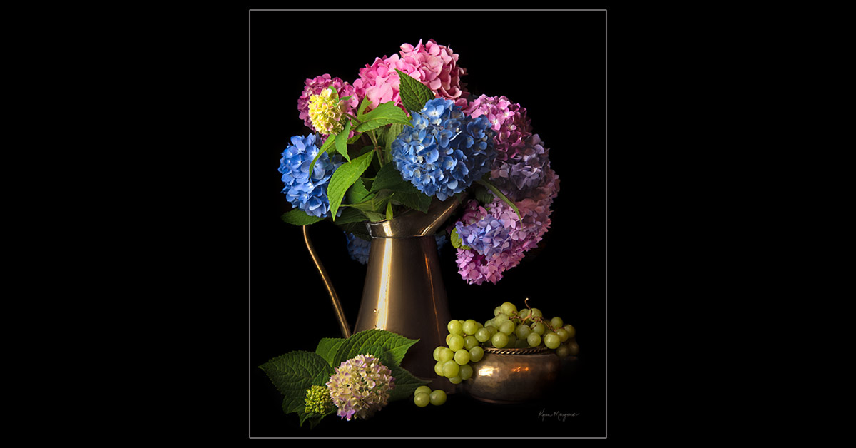 """Hydrangeas with Grapes"""