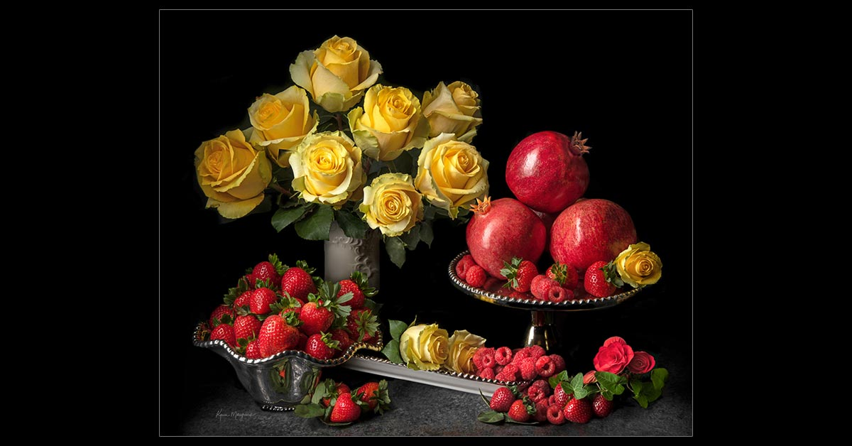 Yellow Roses with Red Fruit